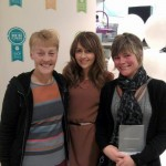 Sue and Helen receiving a gift donation from Samia (Maria from Corrie) on behalf of Mamas & Papas